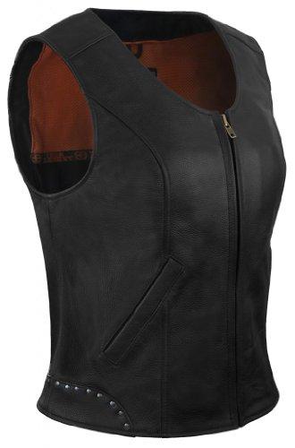 True Element Womens Rivet Accented Zip Front Motorcycle Leather Vest Black Size 2XL