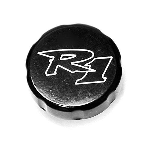 Krator Yamaha YZF R1 Black Billet Fluid Reservoir Cap Logo Engraved 1998-2012