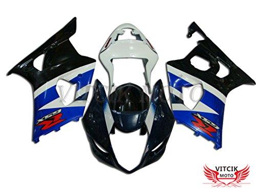 VITCIK Fairing Kits Fit for Suzuki GSXR1000 K3 2003 2004 GSXR 1000 GSX R1000 K3 03 04 Plastic ABS Injection Mold Complete Motorcycle Body Aftermarket Bodywork Frame Black Blue A029