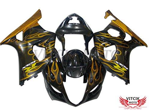 VITCIK Fairing Kits Fit for Suzuki GSXR1000 K3 2003 2004 GSXR 1000 GSX R1000 K3 03 04 Plastic ABS Injection Mold Complete Motorcycle Body Aftermarket Bodywork Frame Black Gold A031