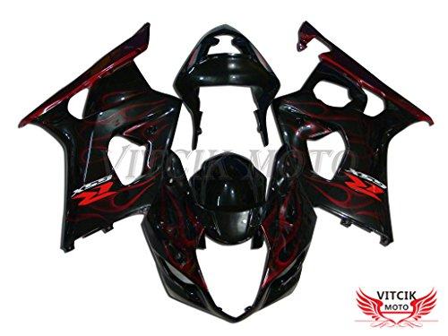 VITCIK Fairing Kits Fit for Suzuki GSXR1000 K3 2003 2004 GSXR 1000 GSX R1000 K3 03 04 Plastic ABS Injection Mold Complete Motorcycle Body Aftermarket Bodywork Frame Black Red A021