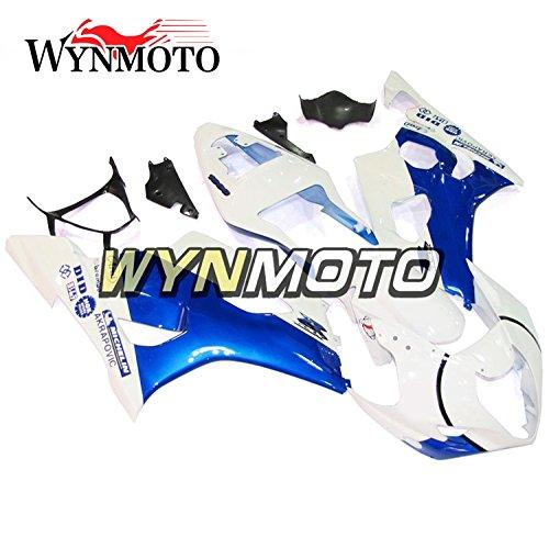 WYNMOTO Motorcycle Full Fairing Kit For Suzuki GSXR1000 K3 2003 2004 Gsxr 1000 03 04 Flat White Blue New Sportbike ABS Plastic Injection Cowlings