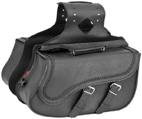 River Road Zip-Off Slant Medium Saddlebags Braided Black