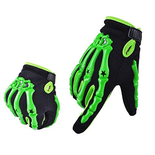 Chitone Full Finger Skeleton Motocross Riding Gloves for Motorcycle Large green