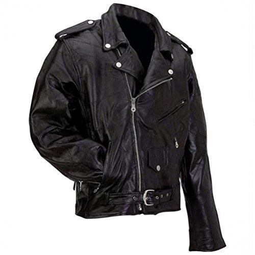 Diamond Plate Rock Design Genuine Buffalo Leather Motorcycle Jacket Black 6X