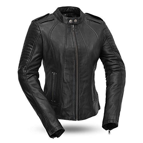 First MFG Co - Biker - Womens Leather Motorcycle Jacket Black Medium