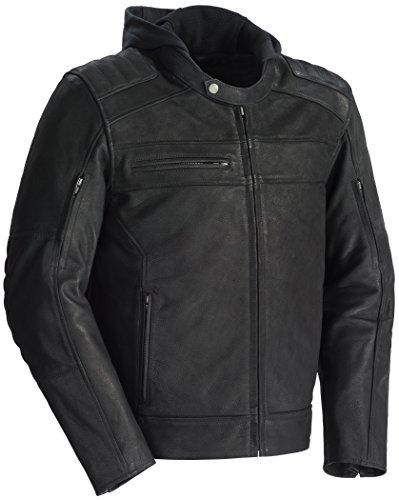 TourMaster Mens Blacktop Leather Motorcycle Jacket Black X-Large