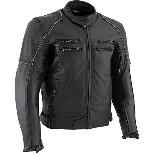 Vulcan VNE 98431 Ace Mens Black Leather Armored Motorcycle Jacket - Large