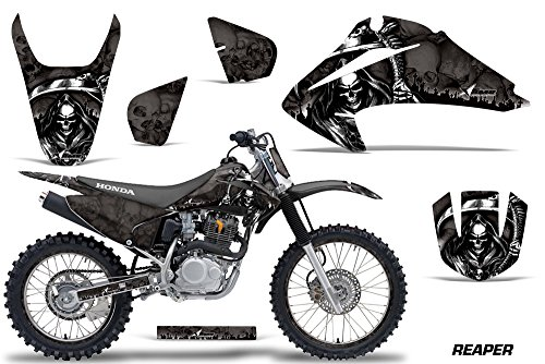 Honda CRF150 CRF230F 2003-2007 MX Dirt Bike Graphic Kit Sticker Decals CRF 125 230 F WITH Number Plates REAPER BLACK