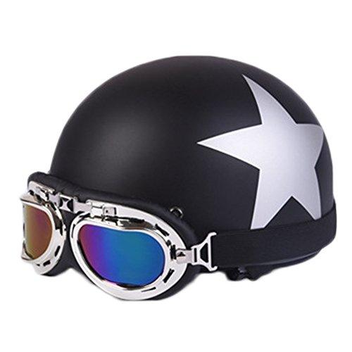 Andyshi Novelty Motorcycle Harley Helmet Half Motor Helmet with Free Gift - GogglesVisorScarf Matte Black Star