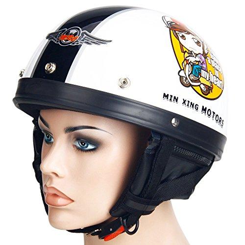 Motorcycle Motorbike Harley Helmet Mens Male Half Face mrcxl02 White 2