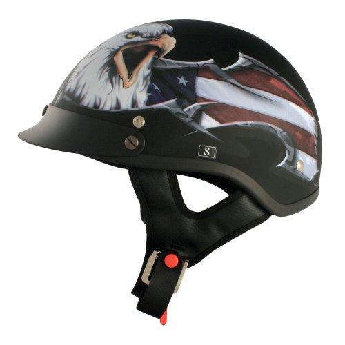VCAN V531 Cruiser Patriotic Eagle Graphics Half Helmet Flat Black Large