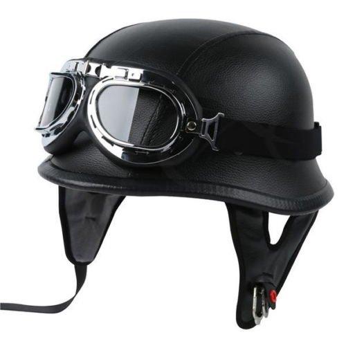 XFMT Dot German Style Leather Half Cruiser Helmet Helmet with Pilot Goggles L