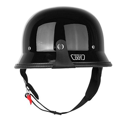 PanelTech Adult Motorcycle Gloss Black DOT Half Face German Helmet Chopper Cruiser Biker L
