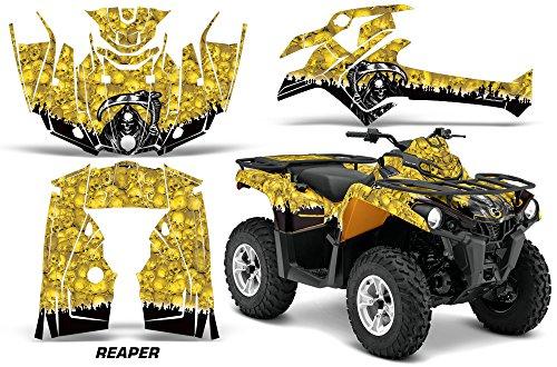 AMR Racing Graphics Can-Am Outlander L 2014-2015 ATV Vinyl Wrap Kit - Reaper Yellow