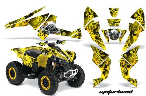 AMR Racing Graphics Can-Am Renegade 800 XR All Years ATV Vinyl Wrap Kit - Motorhead Yellow