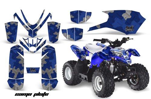 AMRRACING Polaris Outlaw 50 2005-2012 Full Custom ATV Graphics Decal Kit - Camoplate Blue