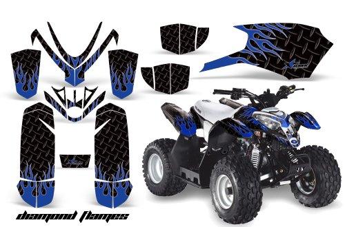 AMRRACING Polaris Outlaw 50 2005-2012 Full Custom ATV Graphics Decal Kit - Diamond Flames Blue Black