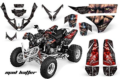 AMRRACING Polaris Predator 500 2003-2007 Full Custom ATV Graphics Decal Kit - Mad Hatter Red Black