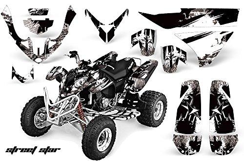 AMRRACING Polaris Predator 500 2003-2007 Full Custom ATV Graphics Decal Kit - Streetstar Black