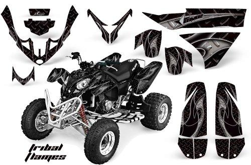 AMRRACING Polaris Predator 500 2003-2007 Full Custom ATV Graphics Decal Kit - Tribal Flames Black