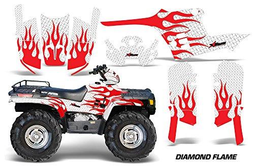 AMRRACING Polaris Sportsman 400500600700 1995-2004 Full Custom ATV Graphics Decal Kit - Diamond Flames Red White