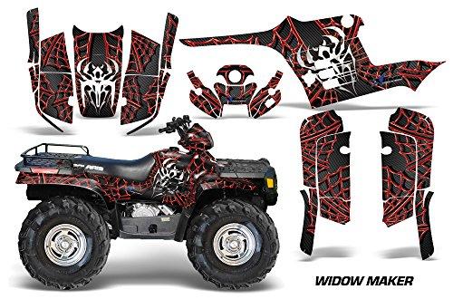 AMRRACING Polaris Sportsman 400500600700 1995-2004 Full Custom ATV Graphics Decal Kit - Widow Maker Red Black