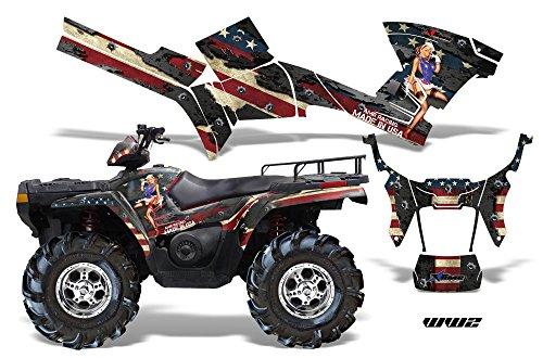 AMRRACING Polaris Sportsman 800500 2005-2009 Full Custom ATV Graphics Decal Kit - WW2