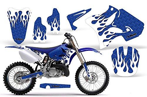 Diamond Flames-AMRRACING MX Graphics decal kit fits Yamaha YZ 125250 2002-2013-White-Blue-BG
