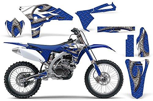Tribal Flames-AMRRACING MX Graphics decal kit fits Yamaha YZ250F 2010-2013-White-Blue-BG