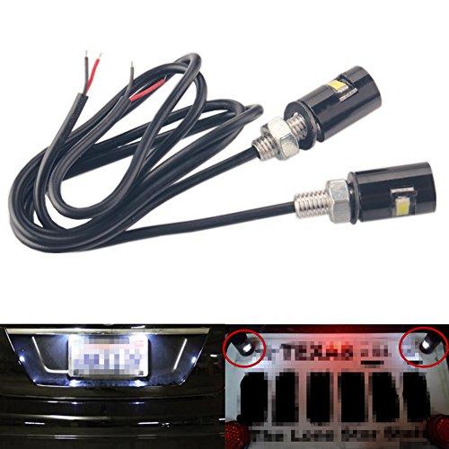 Dewhel 12V 2X SMD 5730 Universal White LED License Plate Light Screw Bolt On FrontRear For Car Truck ATV Motorcycle Bike SUV RV Black