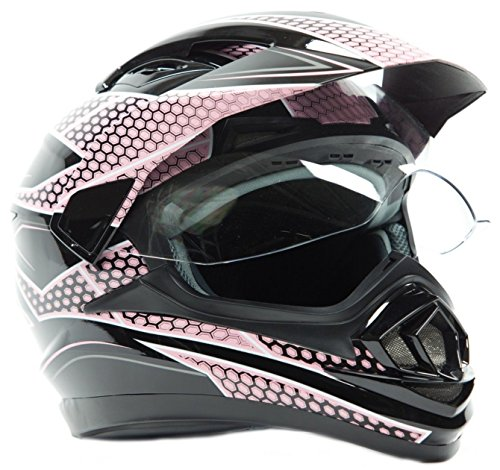 Dual Sport Helmet - Off Road Motocross UTV ATV Motorcycle Enduro - Pink Black - Small