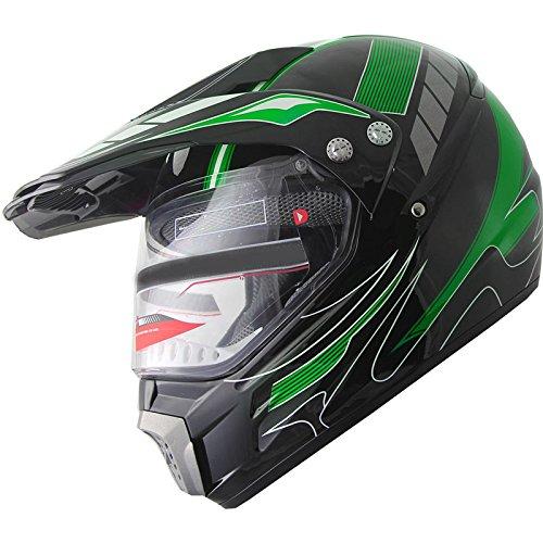 Motocross Dual Sport Off Road Dirt Bike ATV Motorcycle Helmet 406_184 w Visor L Green
