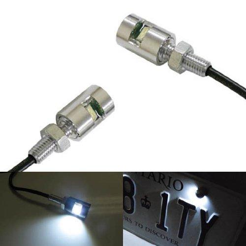 iJDMTOY 2 12V Xenon White 5730-SMD Bolt-On LED License Plate Lights For Car Truck ATV Motorcycle Bike etc Chrome Finish