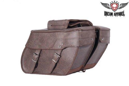 PVC Brown Motorcycle Saddlebag with Lock