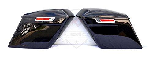 45 Extended Stretched Saddlebags Fully Assembled Vivid Gloss Black with Hardware Locks Keys for 2014 2015 2016 2017 Harley-Davidson Touring