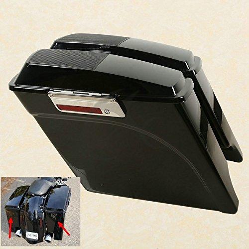 TCMT Vivid Black 5 Stretched Saddlebags  Speaker Lid For Harley Road King Street Glide