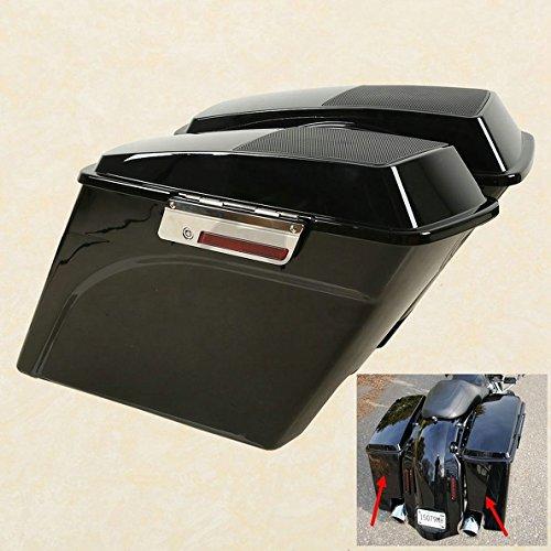 TCMT Vivid Black Stretched Saddlebags  6x9 Speaker Lid For Harley Road King Street Glide 1993-2013