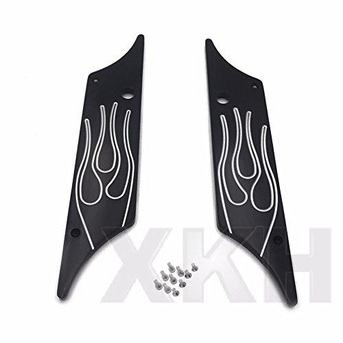 XKH Group CNC Hard Billet Aluminum Saddlebag Latch Cover Flame For Harley Touring 93-13