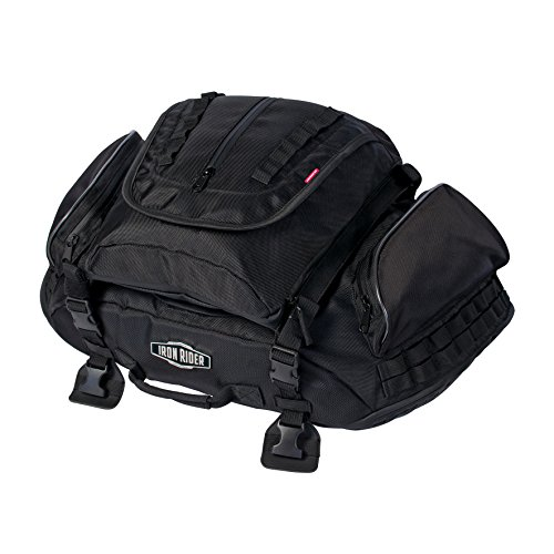 Iron Rider By Dowco - Rumble Motorcycle Tail Bag - 2 Year Limited Warranty - Reflective - Water Resistant - Black - Tactical Gear - Up To 38L Capacity  04890