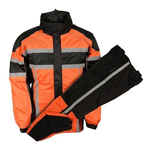 Nex Gen Mens OrangeBlkGrey Motorcycle Rain Suit Water Resistant SH233102 2XL