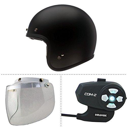 Bell Custom 500 Solid Flat Black Open Face Helmet with Hawk COM-2 Bluetooth Int - 2X-Large w N-10-Clear-Shield  COM-2