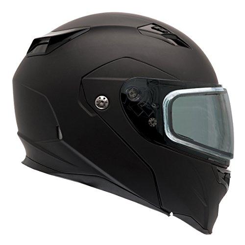 Bell Revolver Evo Rally Matte Black Modular Snowmobile Helmet with Dual Shield - Large
