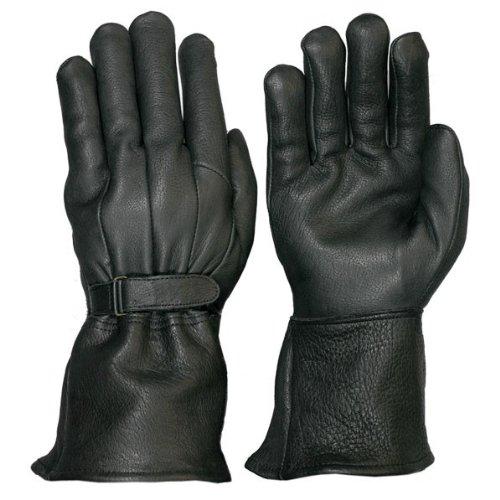Hot Leathers Classic Deerskin Gauntlet Gloves (black, Medium)