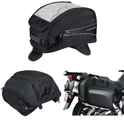 Nelson-Rigg CL-2015-MG Black Magnetic Mount Journey Sport Tank Bag  CL-3000 Black Highway Cargo Pack  and  CL-855 Black Touring Adventure Saddlebag Bundle
