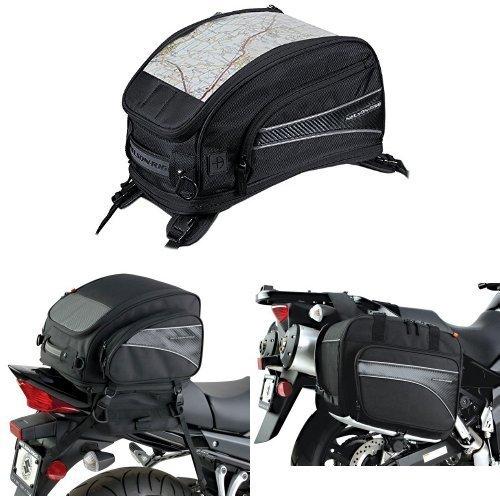 Nelson-Rigg CL-2015-ST Black Strap Mount Journey Sport Tank Bag  CL-1040-TP Black Jumbo Expandable Tail Bag  and  CL-855 Black Touring Adventure Saddlebag Bundle