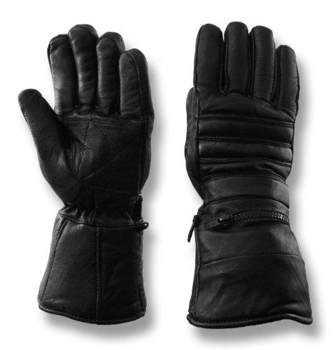 Vance Leathers Men's Gauntlet Lambskin Motorcycle Gloves - Black - L