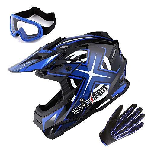 1Storm Adult Motocross Helmet BMX MX ATV Dirt Bike Helmet Racing Style Glossy Blue  Goggles  Skeleton Blue Glove Bundle