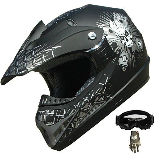Adult ATV Motocross Dirt Bike Helmet Combo 180 Matt BlackGlovesGoggles M