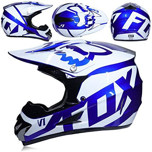 Multi-color Motorcycle Helmet Motocross Helmet Adult Men and Women Full Face Helmet Four-wheeled Motorcycle ATV Kart Helmet Including 4 Sets of Gloves Glasses Helmet Mask brightblueandwhiteL